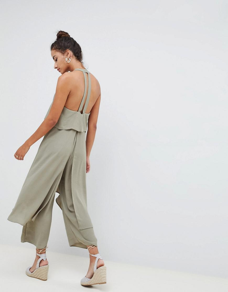 859f89f23f4 Lyst - ASOS Jumpsuit With Multi Layers in Green