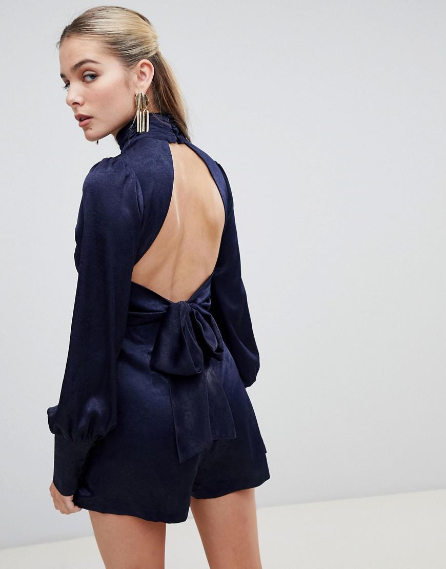 4f1a8e72608 Fashion Union Romper With Tie Open Back in Blue - Lyst