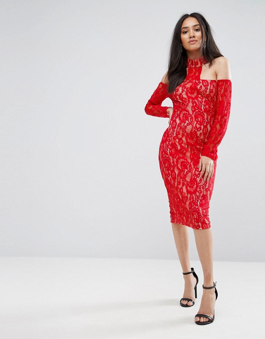 22c83e5e19 Lyst - AX Paris Red T-bar Lace Choker Midi Dress in Red