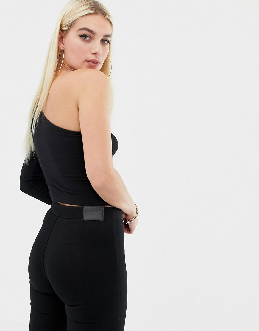 330965af5e5 Lyst - ASOS One Shoulder Top With Cut Out in Black