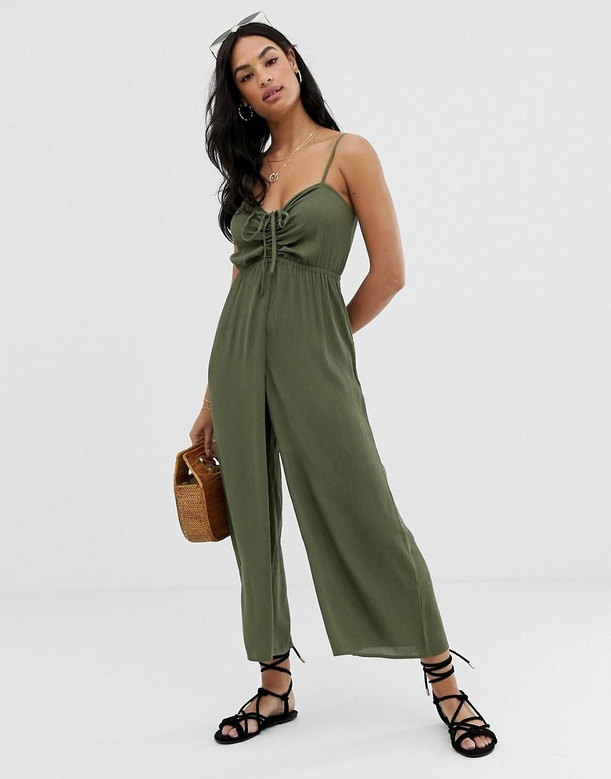 c65b671ff1f ASOS Cami Jumpsuit With Gathered Bodice Detail in Green - Lyst