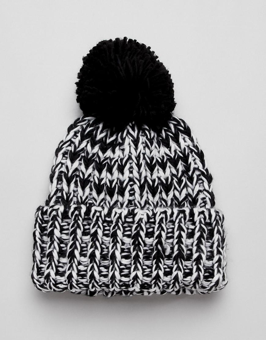 44281ce92e0 Lyst - ASOS Chunky Mix Knit Beanie With Pom in Black