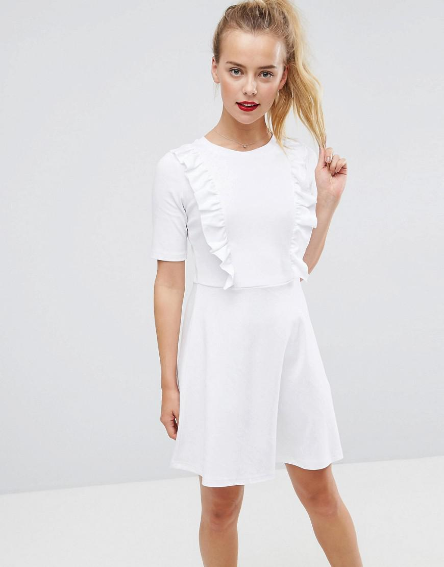 a8eff7fdbf8 Lyst - ASOS Asos Cotton Smock Dress With Frill Details in White