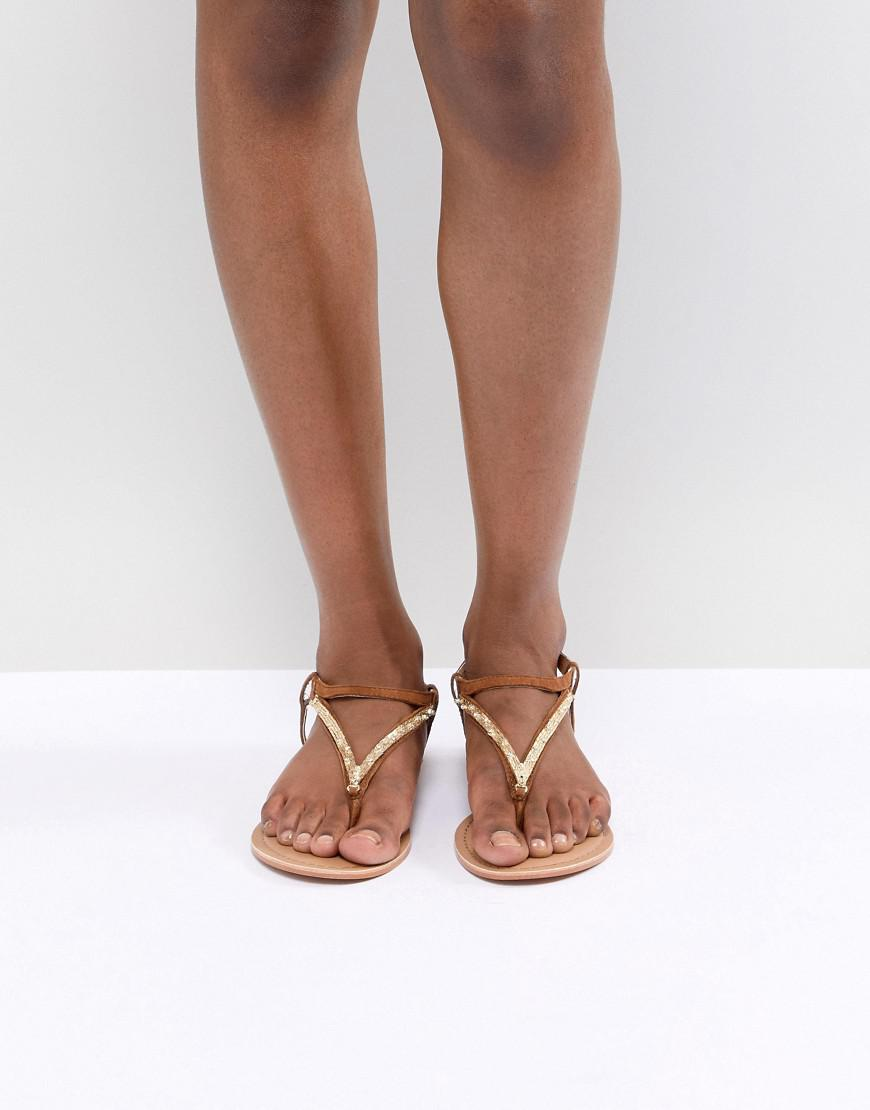 e84ee00eb ASOS Fixing Leather Embellished Flat Sandals in Brown - Lyst
