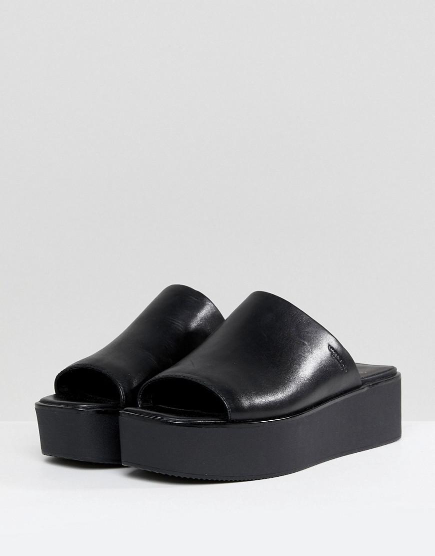 d9fbdb96450 Vagabond Bonnie Black Leather Platform Slides in Black - Lyst