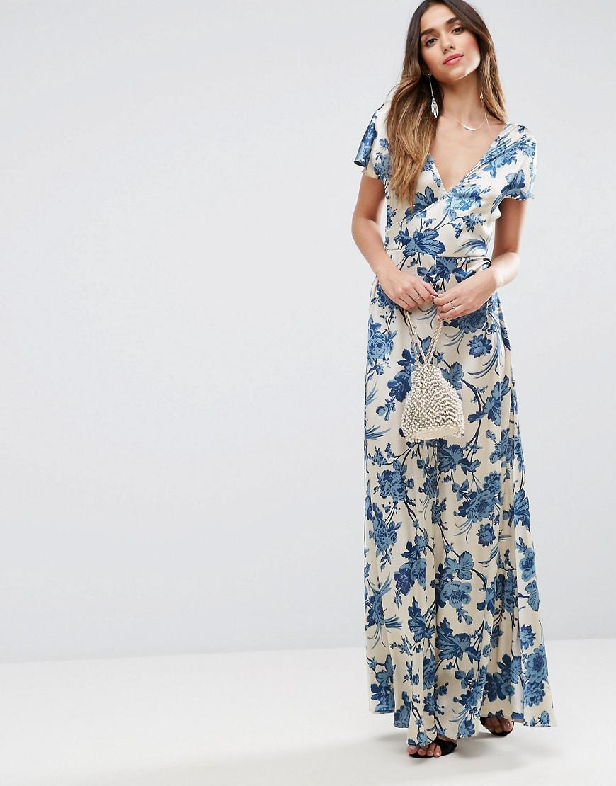 PREMIUM Wrap Satin Maxi Dress - Lilac Asos Discount Pay With Paypal Quality Outlet Store Big Discount 2018 New fqfshyDbL
