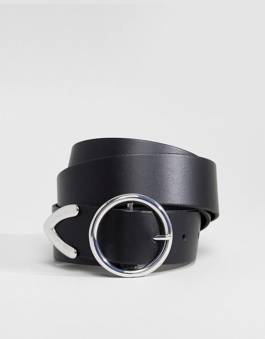 Lyst - Ceinture en cuir pour jean avec boucle circulaire et extrmit  renforce ASOS en coloris Noir 36984d6c943