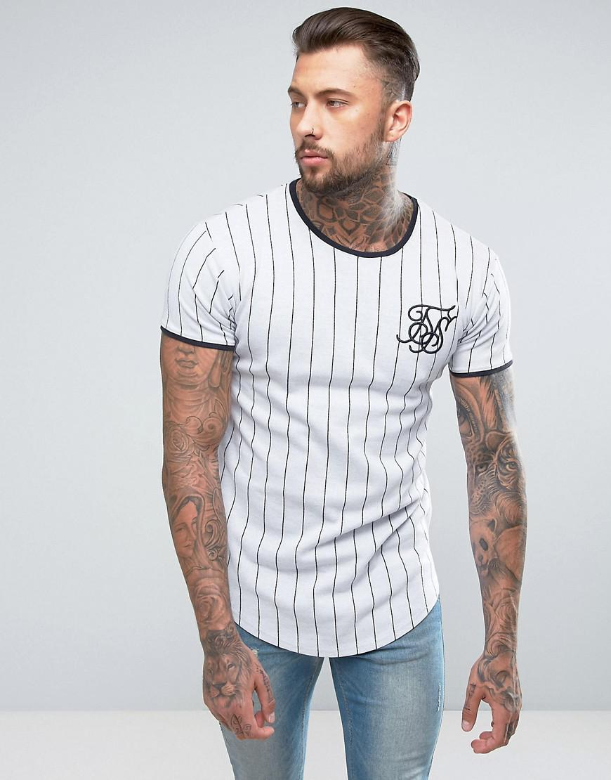 52f813bb33 SIKSILK Muscle T-shirt In White With Stripes in White for Men - Lyst