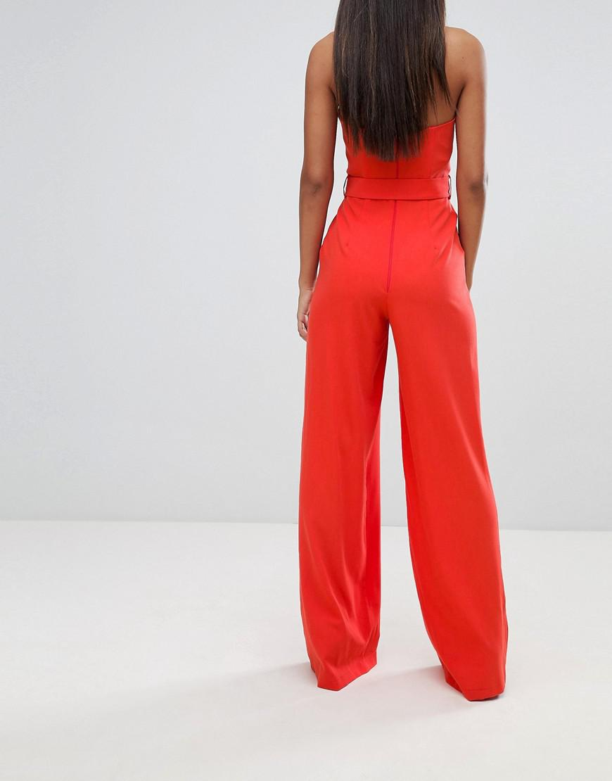 857346e10361 Lyst - ASOS Asos Design Tall Jumpsuit With Structured Bodice And Wide Leg  in Orange