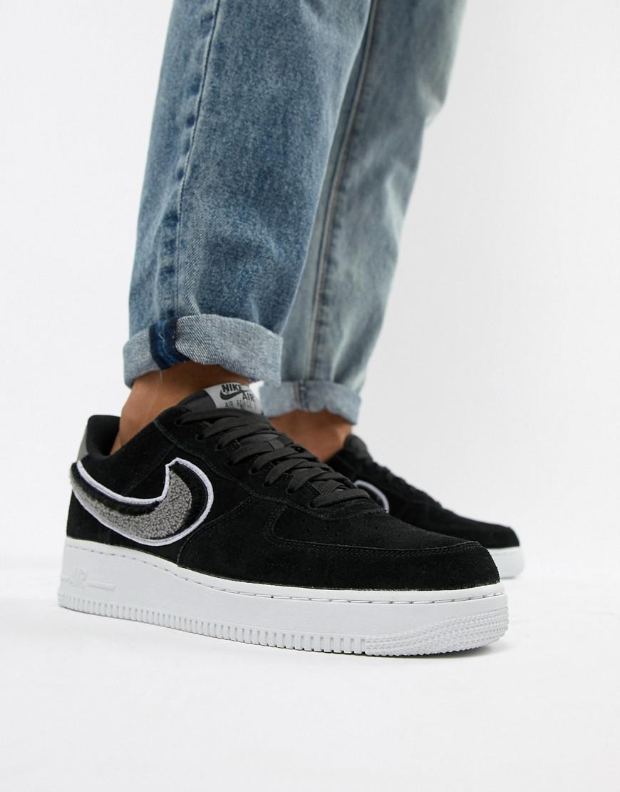6aa9b98e5d2 Nike Air Force 1  07 Trainers In Black 823511-014 in Black for Men ...