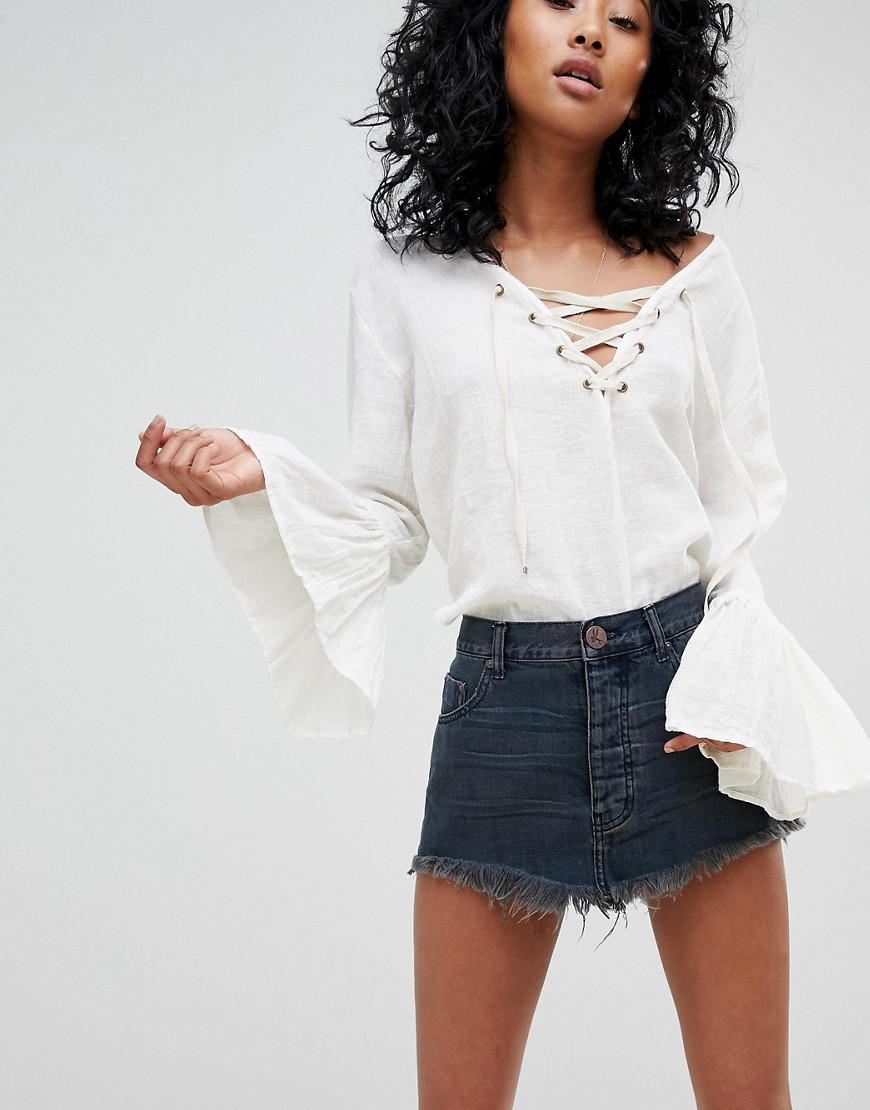 99bf070dfd95 One Teaspoon Festival Denim Mini Skirt With Raw Hem in Black - Lyst