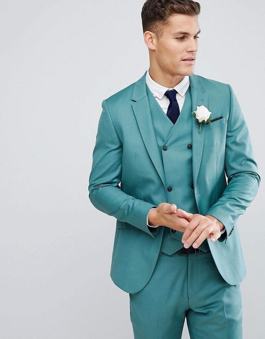 Lyst - Asos Wedding Slim Suit Jacket In Pine Green 100% Wool in ...