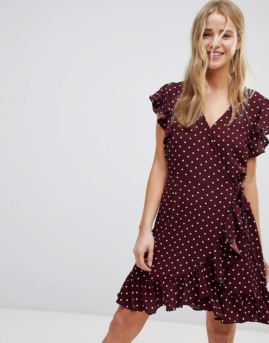Robe portefeuille rouge a pois