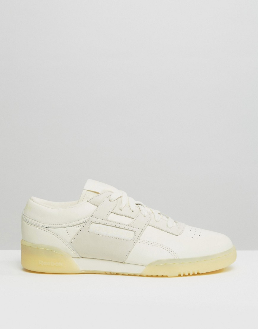 Reebok Workout Low Leather  butter  Trainers In White Ar1421 in ... e2e18eada