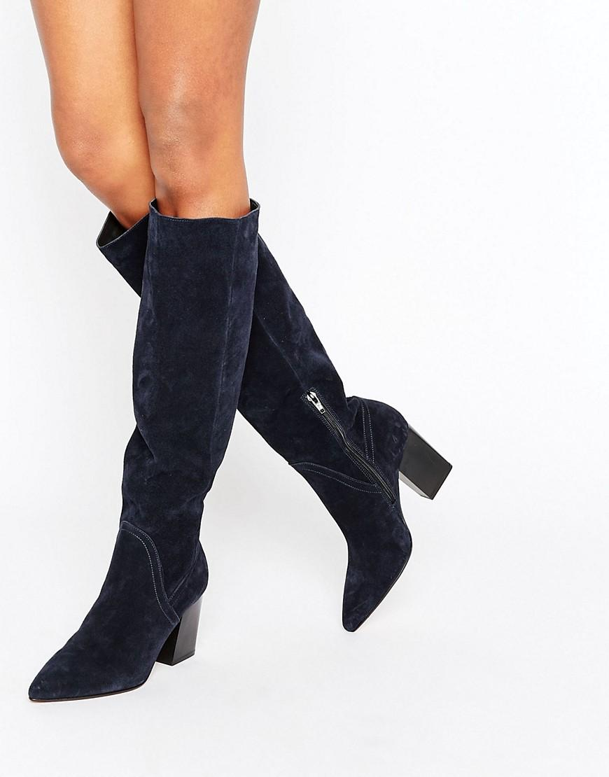 934fa92b9d6d Lyst - ASOS Carina Suede Pointed Slouch Knee High Boots in Blue