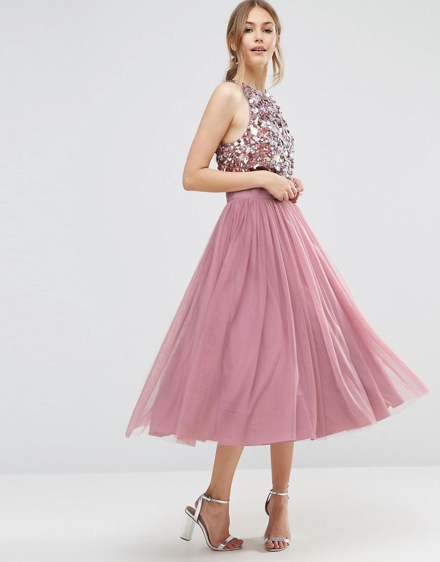 195dcebf345 ASOS Cluster Embellished Mesh Crop Top Midi Dress in Pink - Lyst
