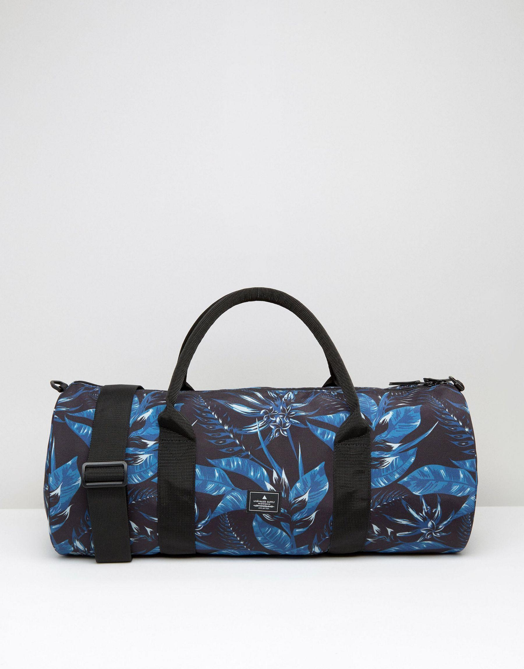 Asos Barrel Bag With Floral Print In Black For Men | Lyst