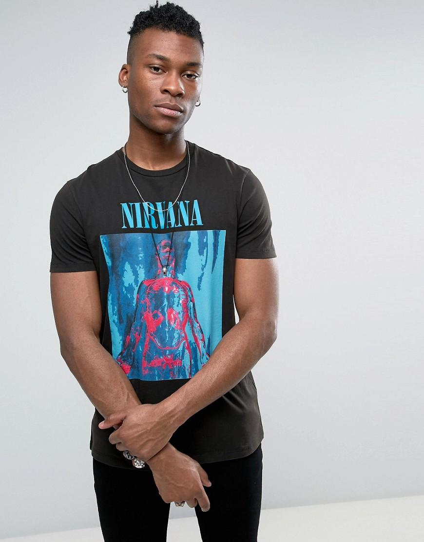 lyst asos nirvana band t shirt in black for men. Black Bedroom Furniture Sets. Home Design Ideas