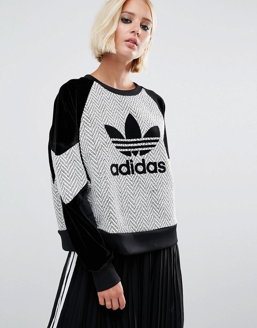 adidas originals originals wool contrast panel sweatshirt. Black Bedroom Furniture Sets. Home Design Ideas