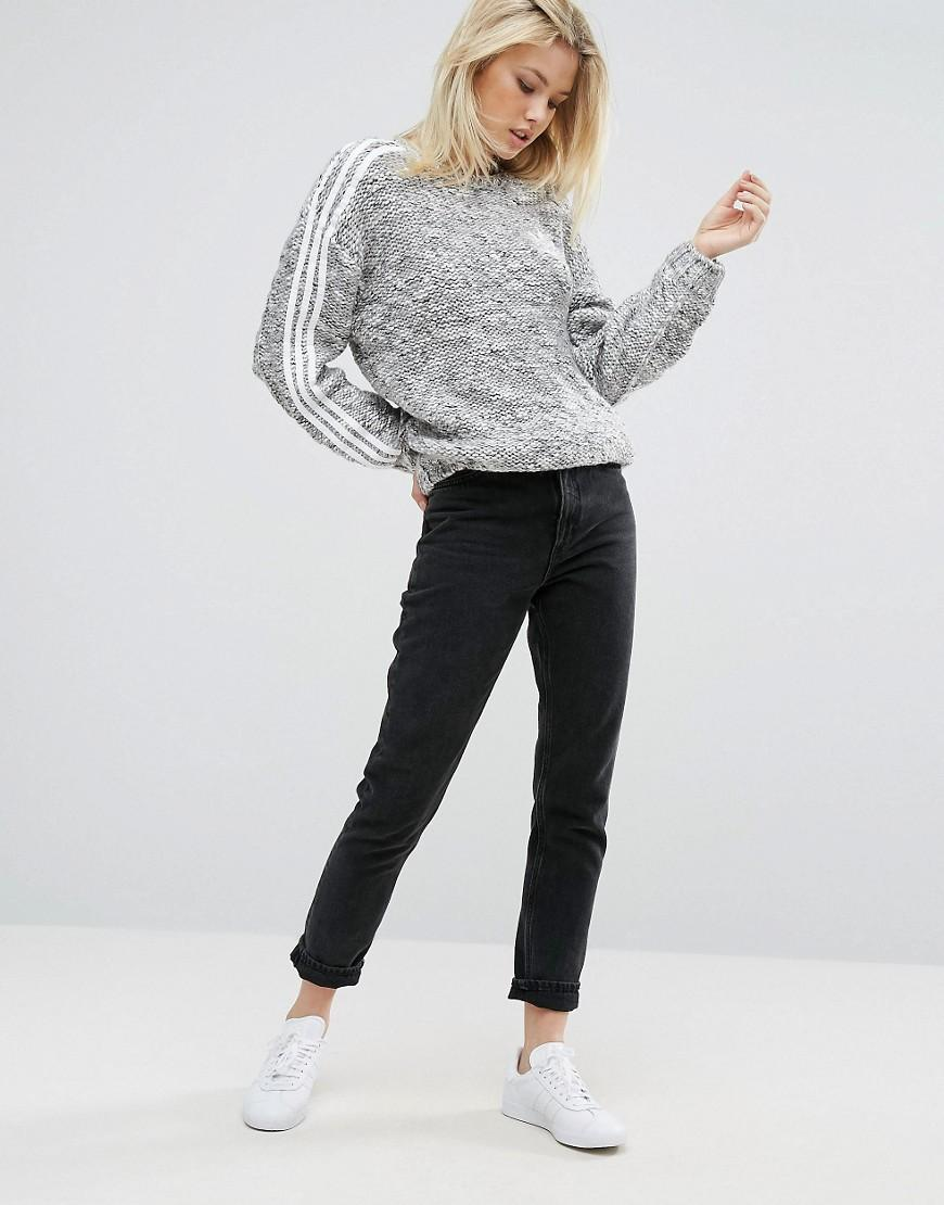 adidas originals originals three stripe chunky knitted jumper in gray lyst. Black Bedroom Furniture Sets. Home Design Ideas
