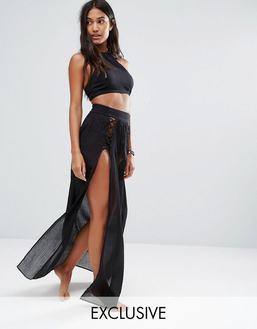1f92b127a1 Wolf & Whistle Extreme Spilt Maxi Skirt Beach Co-ord in Black - Lyst
