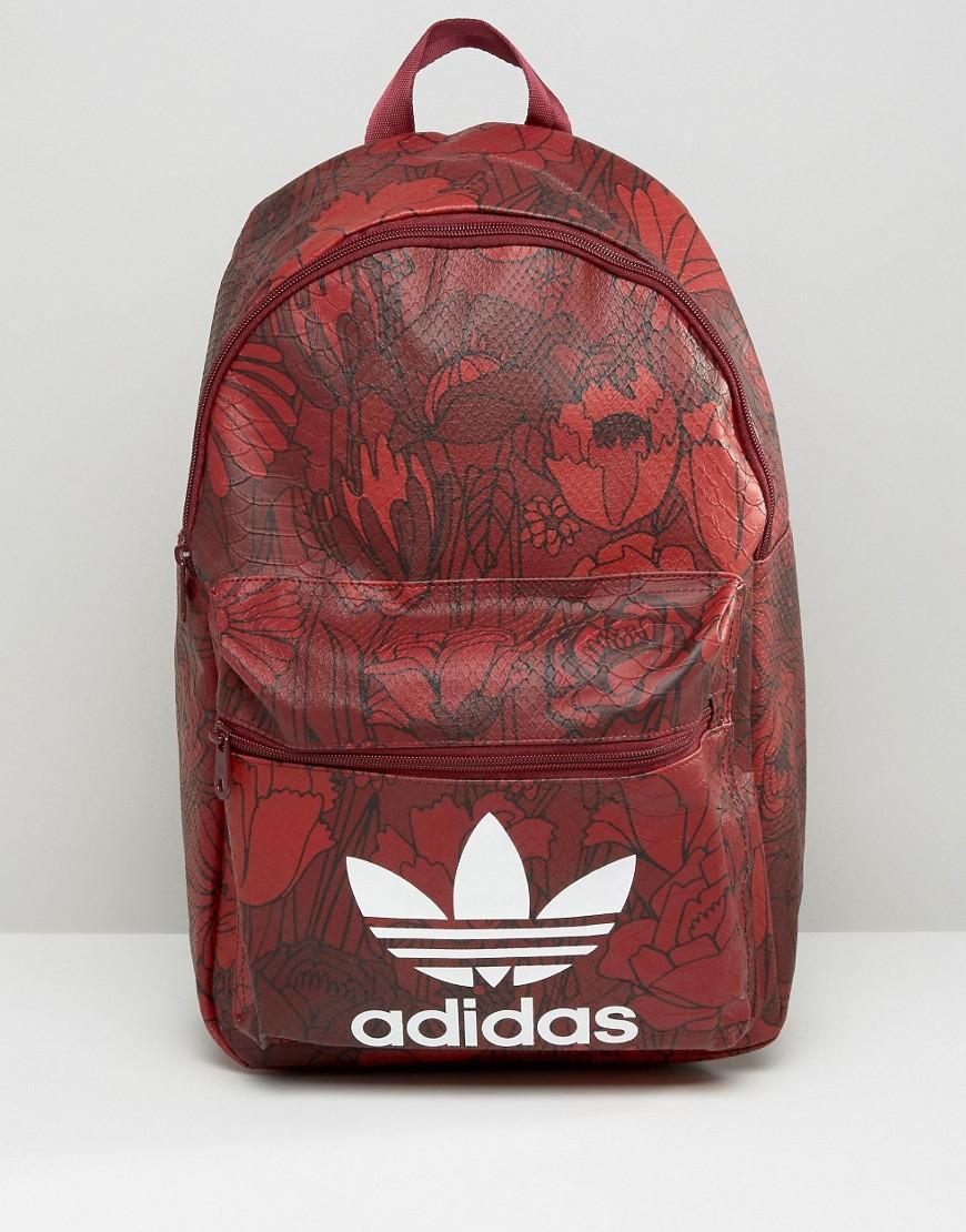 Lyst - adidas Originals Originals Floral Print Backpack With Trefoil ... d707a0eaf7b16