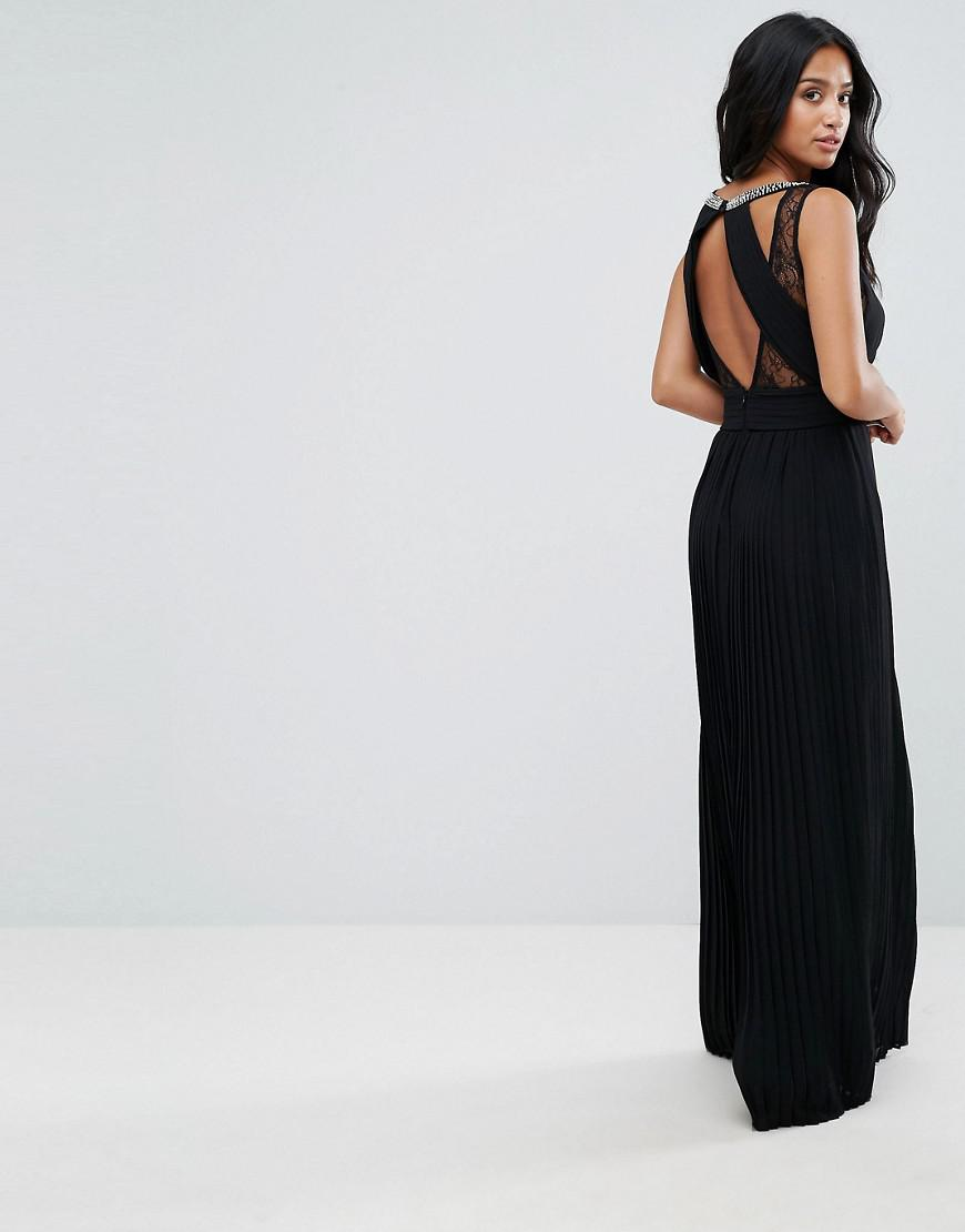 14c6392e05e4 TFNC London High Neck Embellished Maxi Dress With Lace Insert in Black -  Lyst