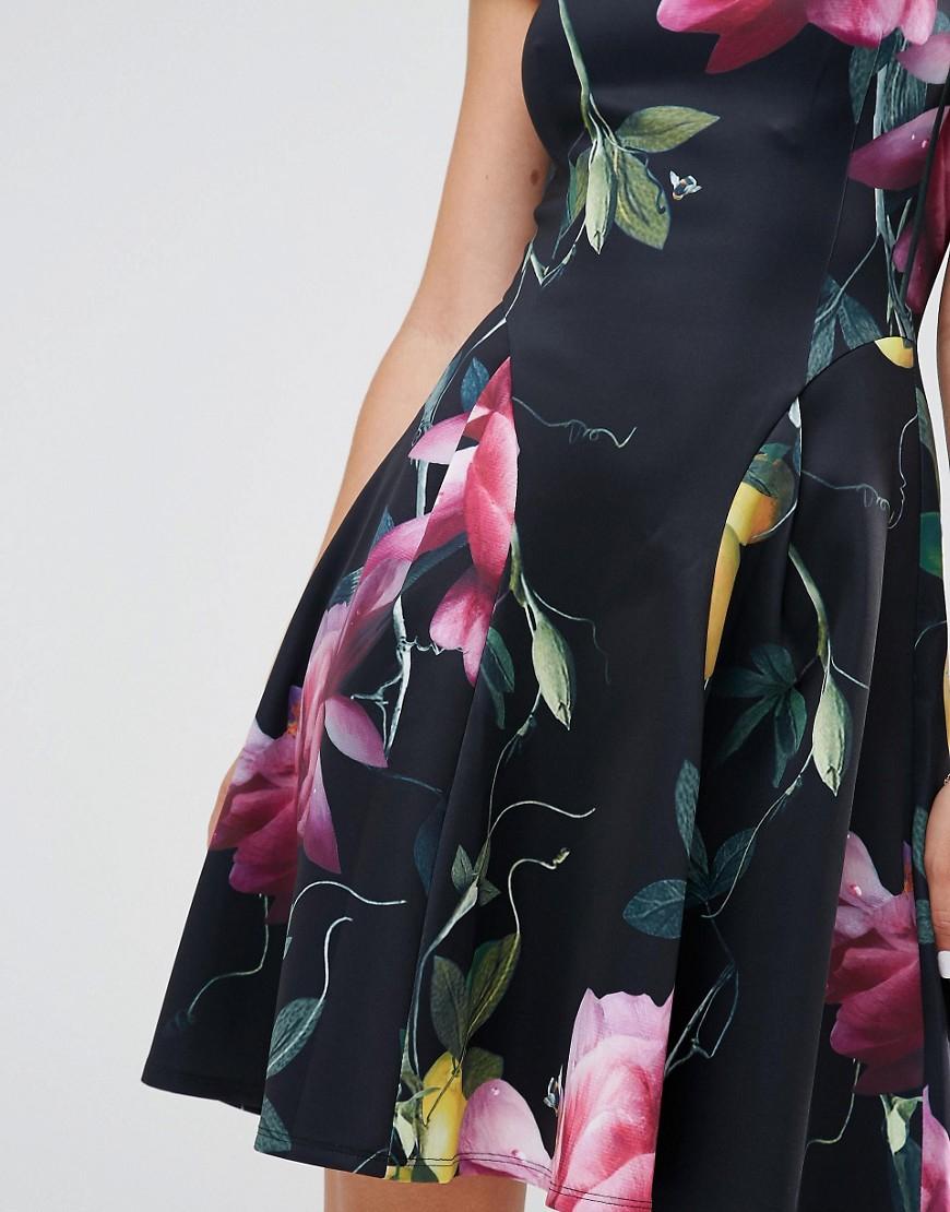 650c1cc669d44 Ted Baker Allisia Skater Dress In Citrus Bloom Print in Black - Lyst