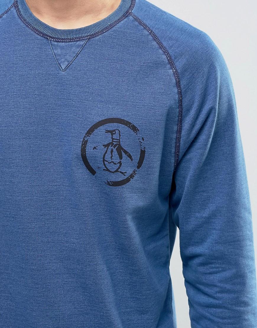 Lyst original penguin crew neck sweat jumper in blue for men for Golf shirt with penguin logo