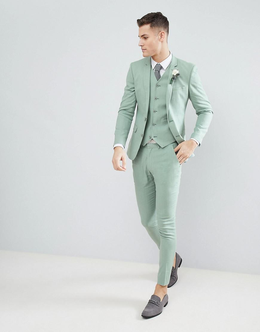Lyst - Asos Design Wedding Super Skinny Suit Pants In Sage Green ...