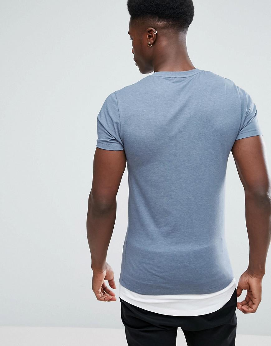 2f533582 ASOS - Blue Super Longline Muscle Fit T-shirt With Contrast Hem Extender  for Men