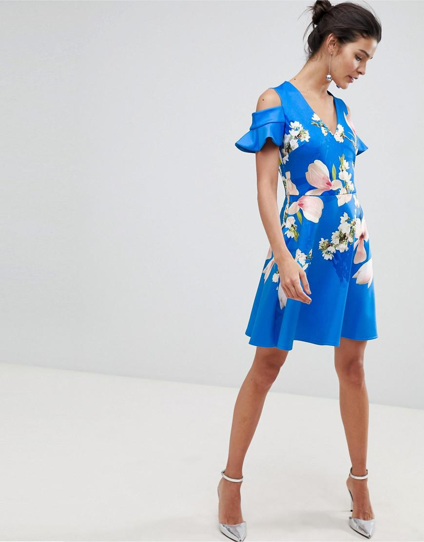 b24f257f9 Ted Baker Harmony Cold Shoulder Dress in Blue - Lyst