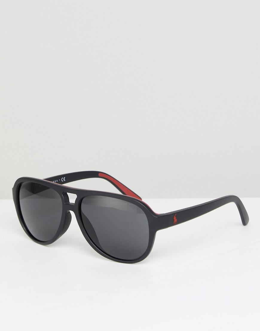 0bc099cfbd20 Polo Ralph Lauren Aviator Sunglasses With Red Contrast in Black for ...