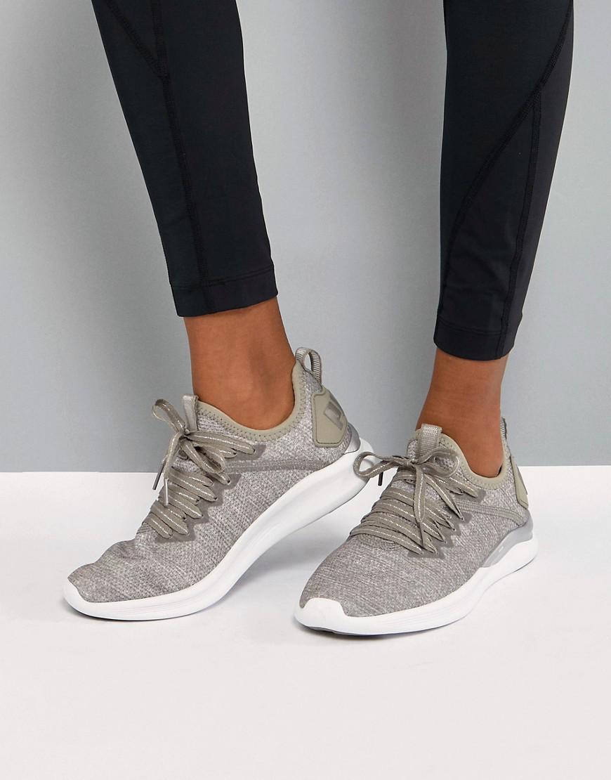 3c46e5f1449a Lyst - PUMA Running Ignite Flash Evoknit Sneakers In Stone in Gray