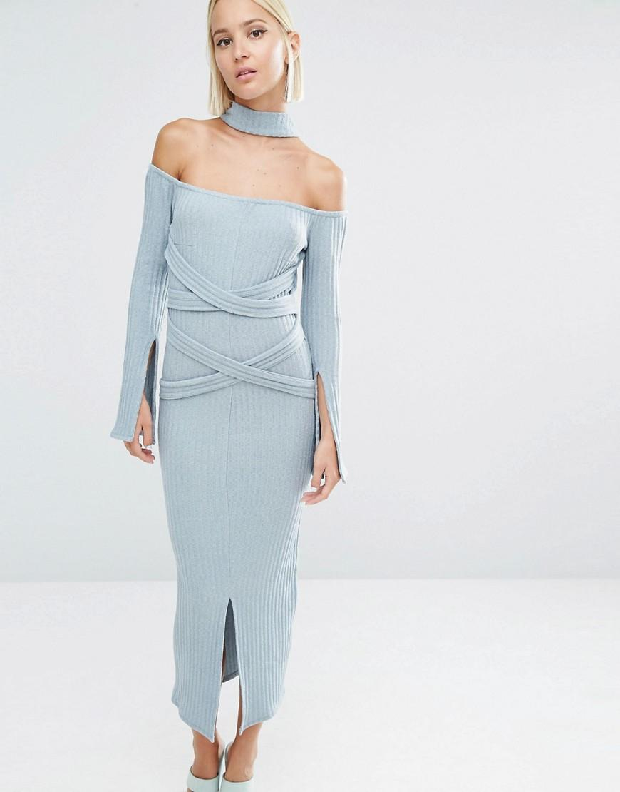 Lavish Alice Rib Knit High Neck Wrap Around Belt Midi Dress in Blue ...