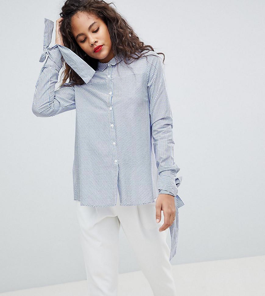 082befe9a915d3 Lyst - Y.A.S Tie Sleeve Stripe Shirt in Blue