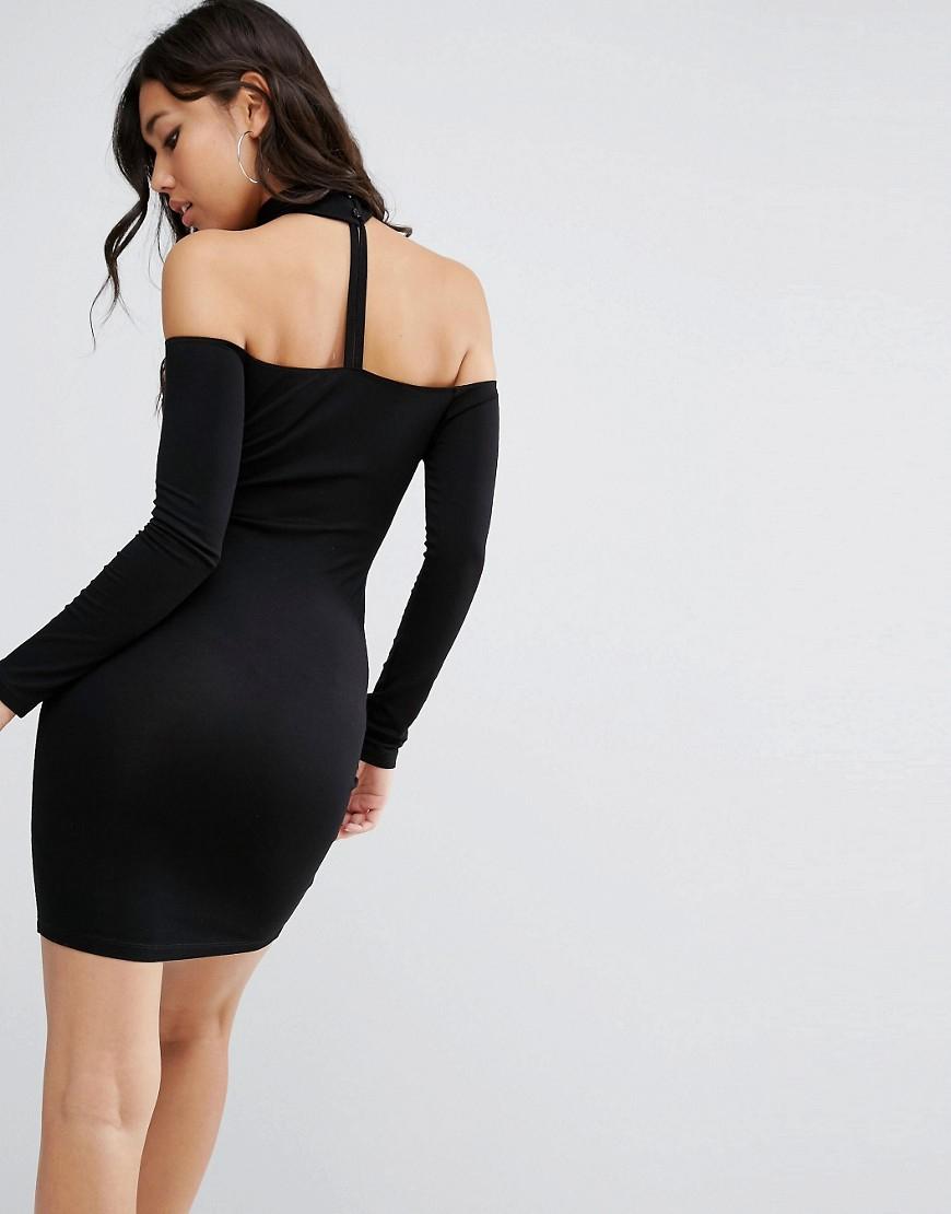 e6e1247c92b0 Lyst - ASOS Long Sleeve Off The Shoulder Bardot Mini Bodycon Dress ...
