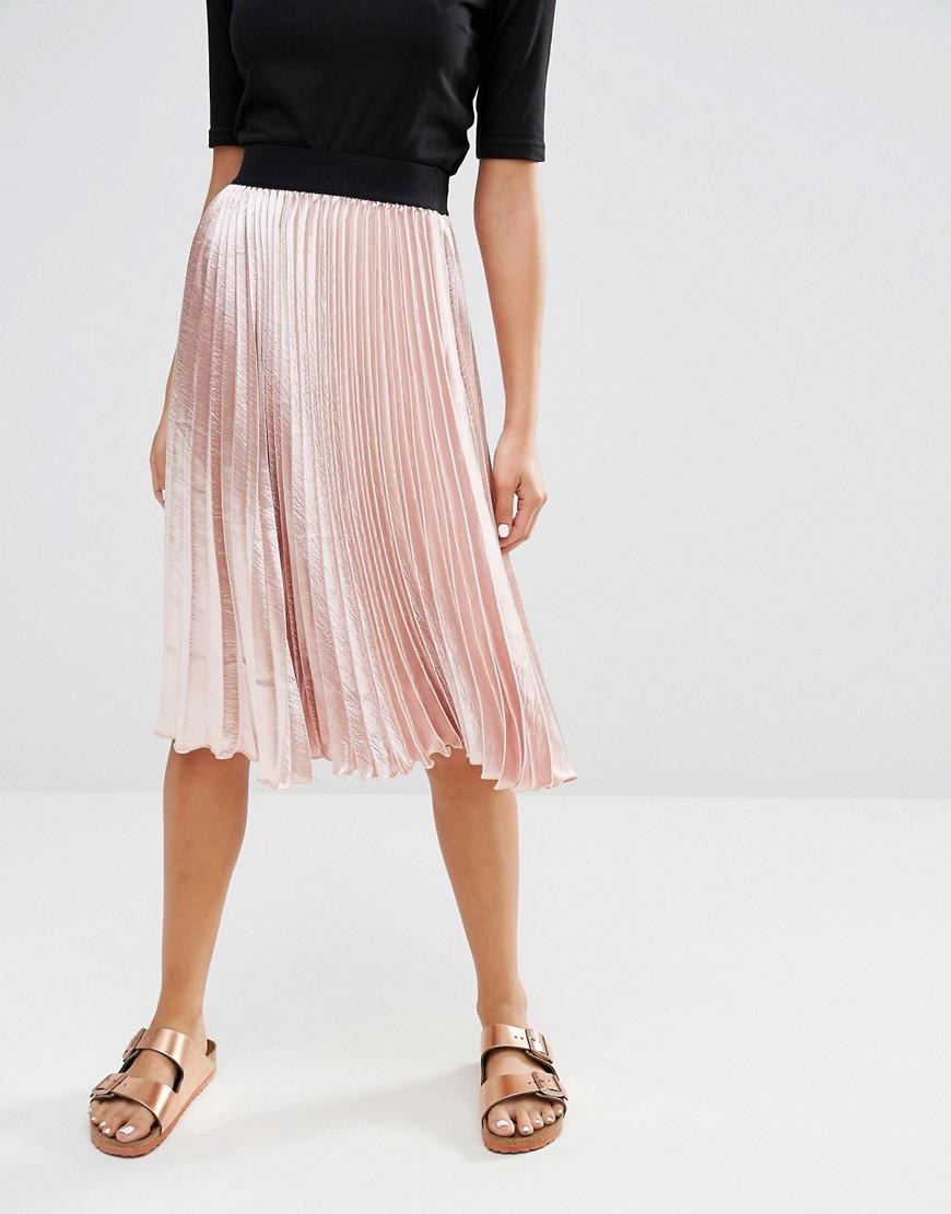 new look satin pleat midi skirt in pink lyst