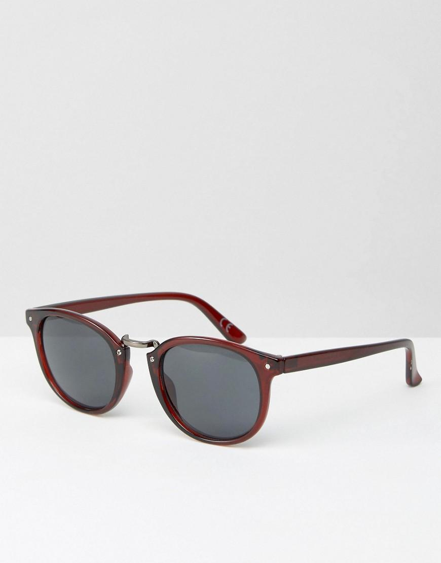 Asos Round Sunglasses With Metal Nose In Burgundy in Red ...