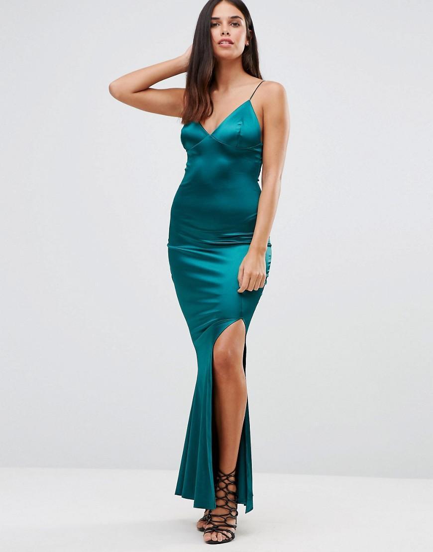 Club L Satin Cami Strap Tie Back Maxi Dress In Green Lyst