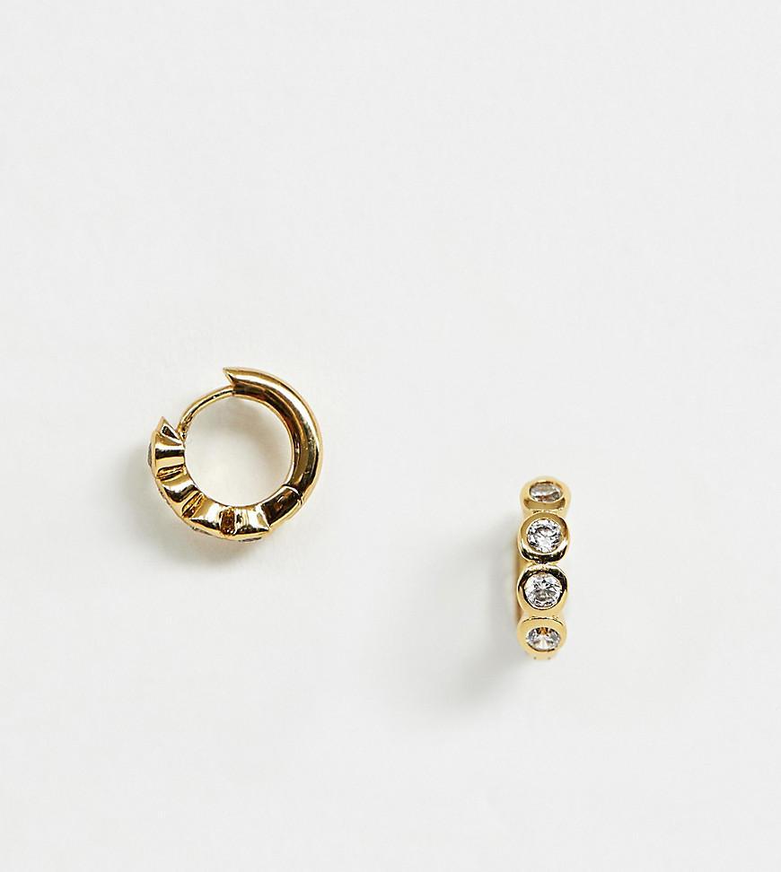 55b9c1dd3 Lyst - Orelia Gold Plated Large Crystal huggie Hoop Earrings in Metallic