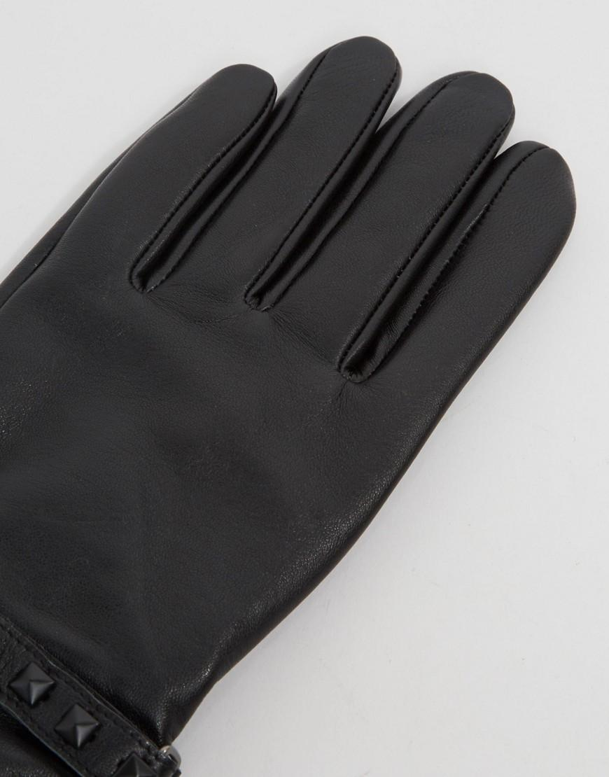 Black leather gloves asos - Asos Leather Gloves With Studding In Black For Men Lyst View Fullscreen
