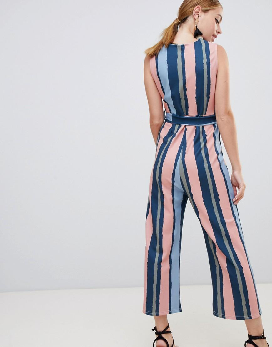 40e5d84da976 Lyst - Boohoo Exclusive Petite Stripe Culotte Jumpsuit in Blue