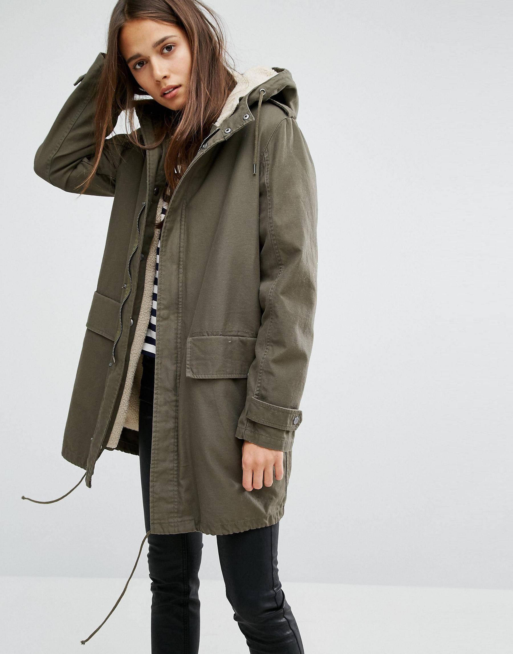 parka london elisa classic parka jacket in canvas with. Black Bedroom Furniture Sets. Home Design Ideas