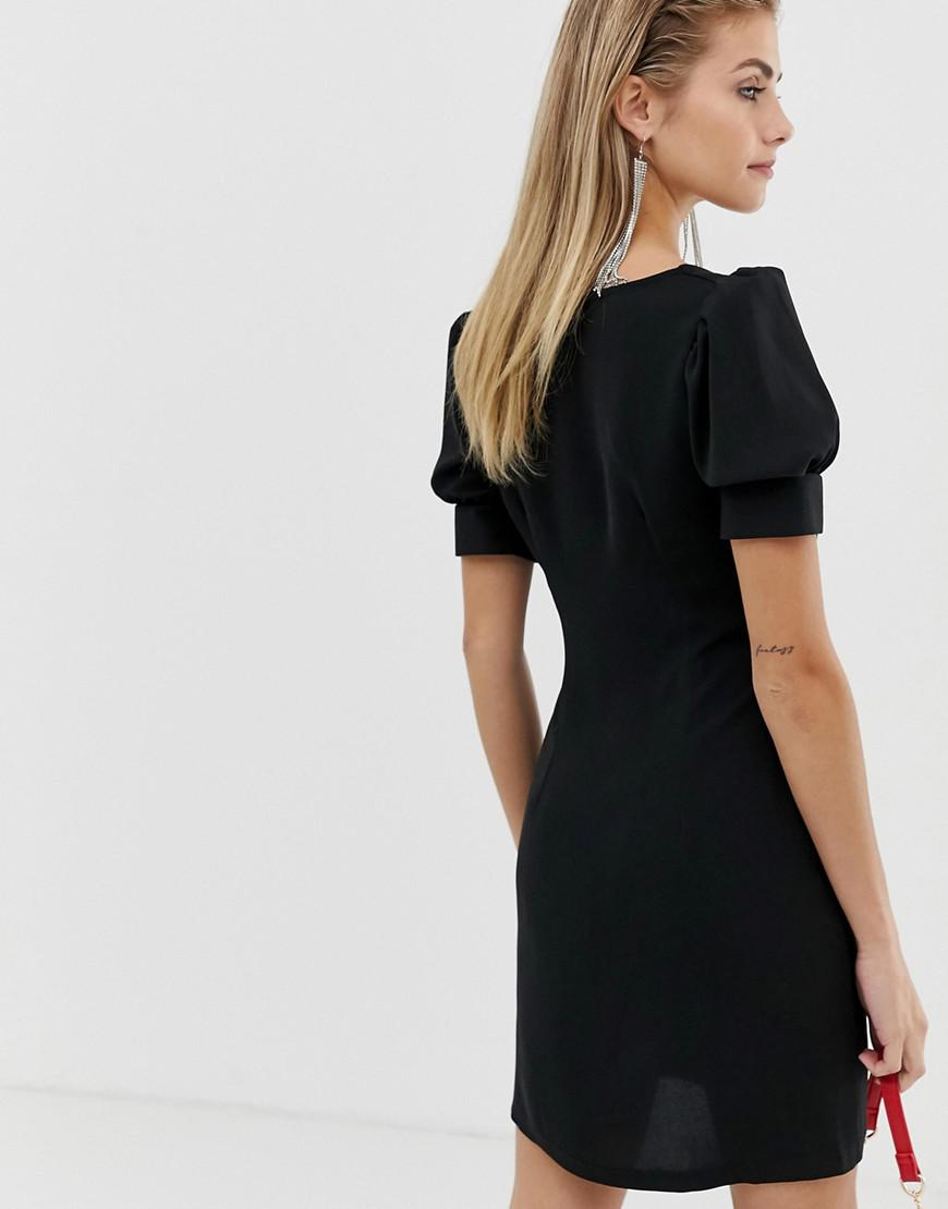 360eaa00d6b1 Lyst - Reclaimed (vintage) Inspired Dress With Sweetheart Neck And Button  Front in Black
