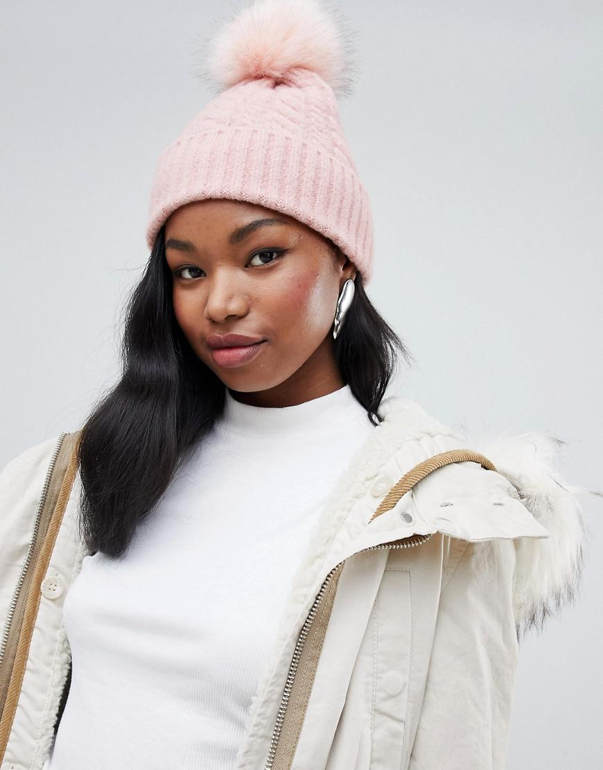 684ca0c6c15 Lyst - Bershka Cable Knit Beanie With Faux Fur Pom Pom in Pink