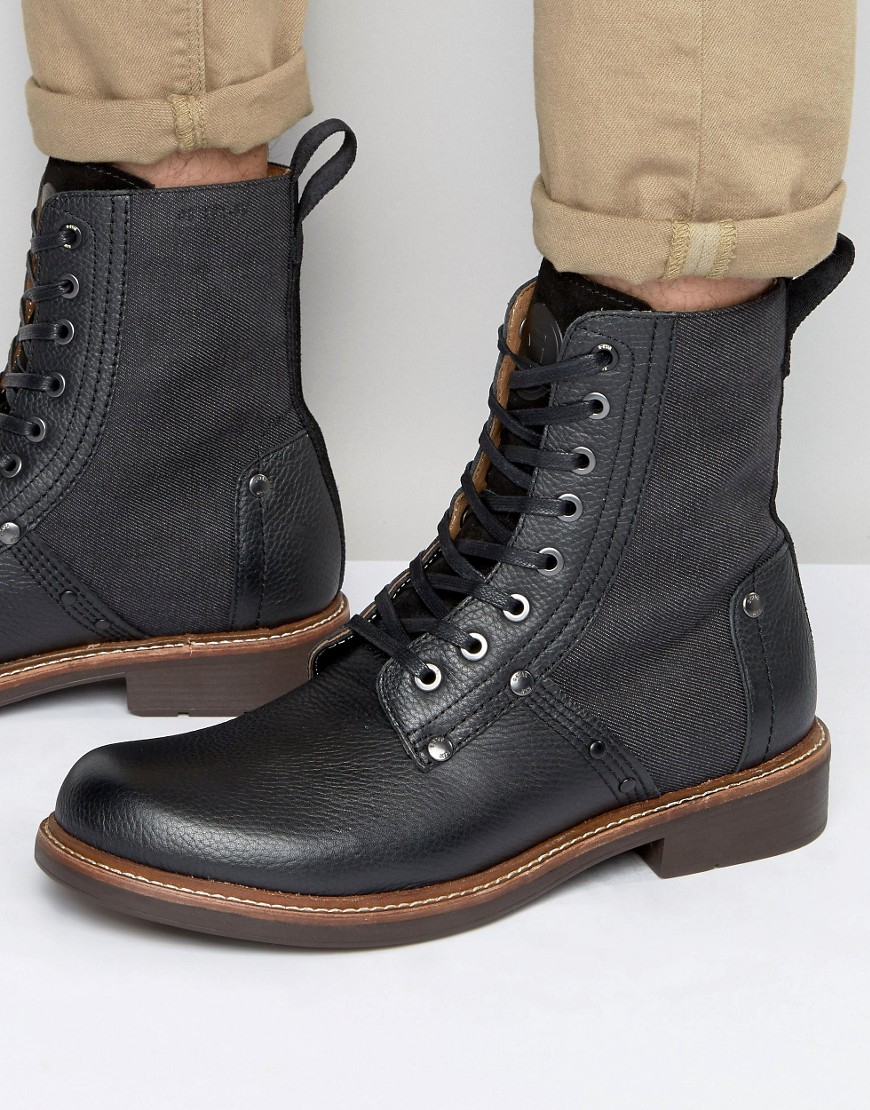 G Star Raw Labour Lace Up Leather Boots In Black For Men Lyst cd5abbee0da