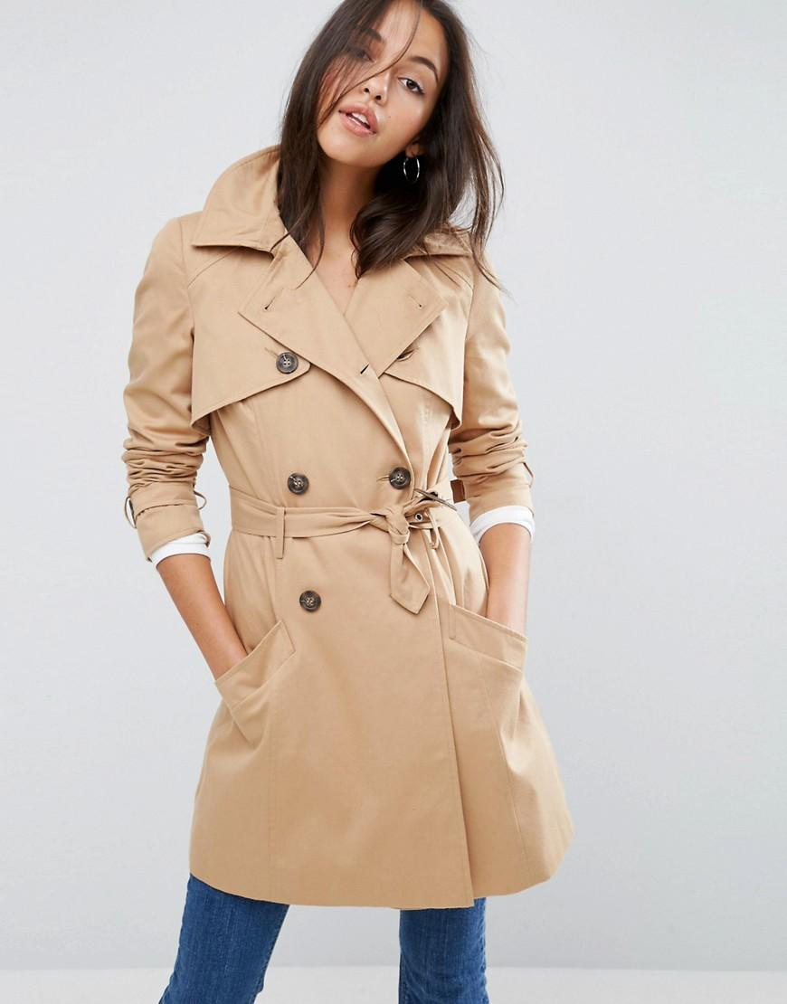 asos classic trench coat in natural lyst. Black Bedroom Furniture Sets. Home Design Ideas