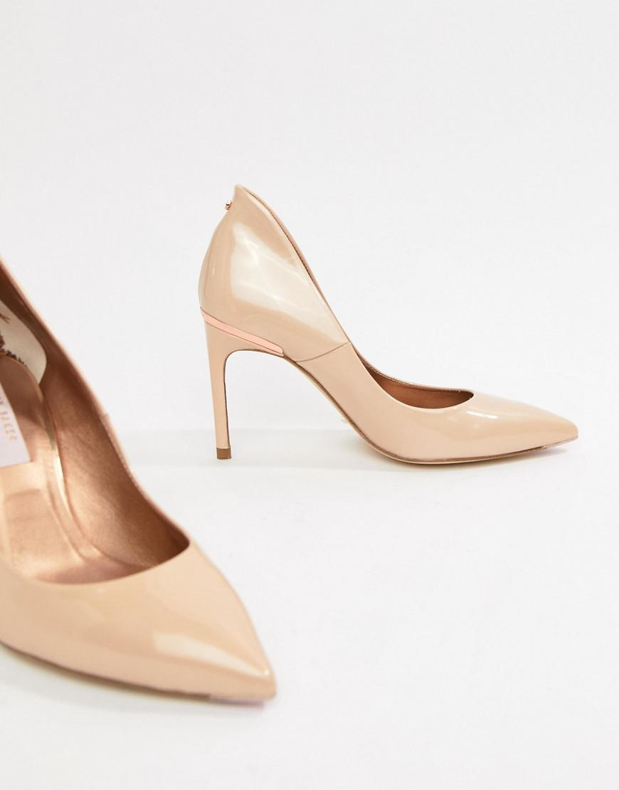 4dcc4522662cc7 Lyst - Ted Baker Savio Nude Patent Leather Pointed Pumps in Natural