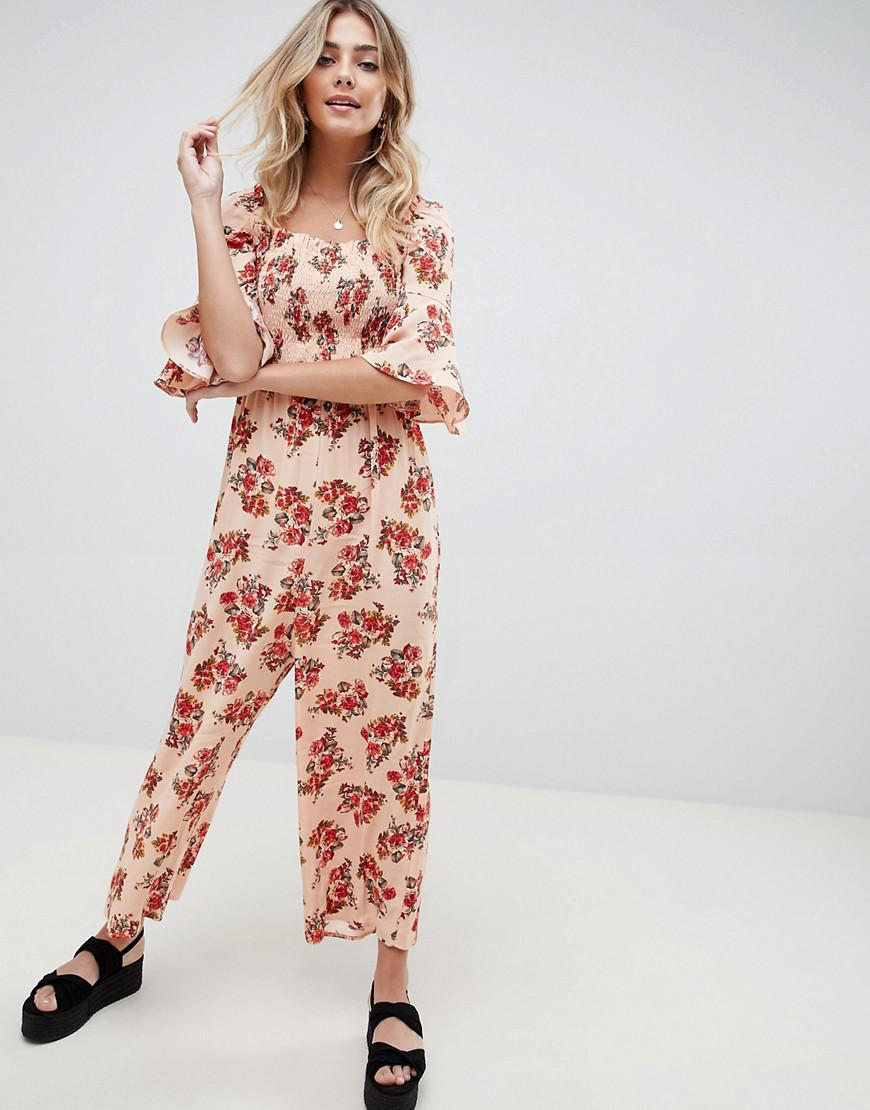 With Mastercard Cheap Price DESIGN swing tea playsuit with button front and lace trim detail in ditsy floral - Mustard floral Asos Inexpensive Sale Online iiTfg5J